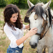 Meeting a horse — Stock Photo #9558171