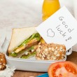 Good luck note in lunchbox — Stock Photo