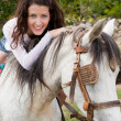 Riding a farm horse — Stock Photo #9558195