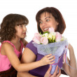 Flower suprise for mother — Stock Photo