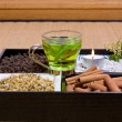 Herbs on tatami — Stock Photo