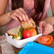 Preparing a lunchbox - Stock Photo