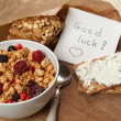 Royalty-Free Stock Photo: Breakfast and good luck message