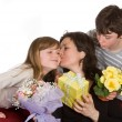 Stock Photo: mom kissing