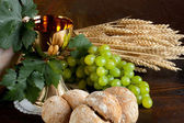 Bread and wine for communion — Stock Photo