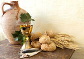 Fish and bread of Jesus — Stock Photo