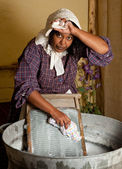 Victorian laundry chores — Stock Photo