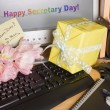 Royalty-Free Stock Photo: Secretary day on screen