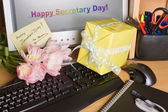 Secretary day on screen — Stock Photo