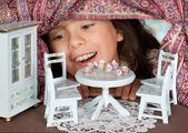 Tea in a dollhouse — Stock Photo