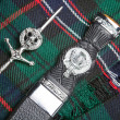 Kilt pin and scottish knife — Stock Photo