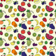 Seamless pattern with varios fruits and berrys — Stock Vector