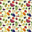 Stock Vector: Seamless pattern with varios fruits and berrys