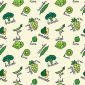 Pattern with cartoon fruits and vegetables — Vector de stock