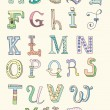 Doodle hand drawn alphabet in pastel tints — Vettoriali Stock
