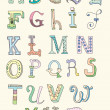 Doodle hand drawn alphabet in pastel tints — Imagen vectorial