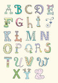Doodle hand drawn alphabet in pastel tints — Stockvector
