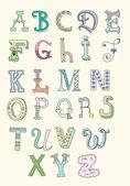 Pastel renk tonları elle çizilmiş alfabesinde doodle — Stok Vektör
