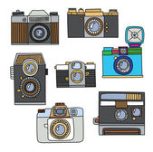 Set of vintage cartoon cameras — 图库矢量图片
