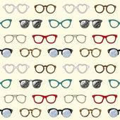 Modello senza soluzione di continuità con gli occhiali retrò e cornici — Vettoriale Stock