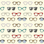 Seamless pattern with retro glasses and frames — Stok Vektör