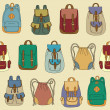 Seamless pattern with various backpacks — Imagens vectoriais em stock