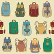 Seamless pattern with various backpacks — Vector de stock #10379233