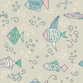 Pattern with cute fishes in pastel tints — Stock Vector