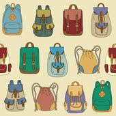 Seamless pattern with various backpacks — Stock Vector
