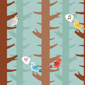 Love birds on trees — Stock Vector