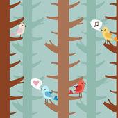 Ptaki miłości na drzewach — Wektor stockowy