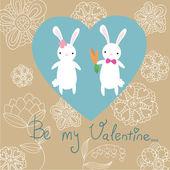 Cute bunnies card — Stock Vector