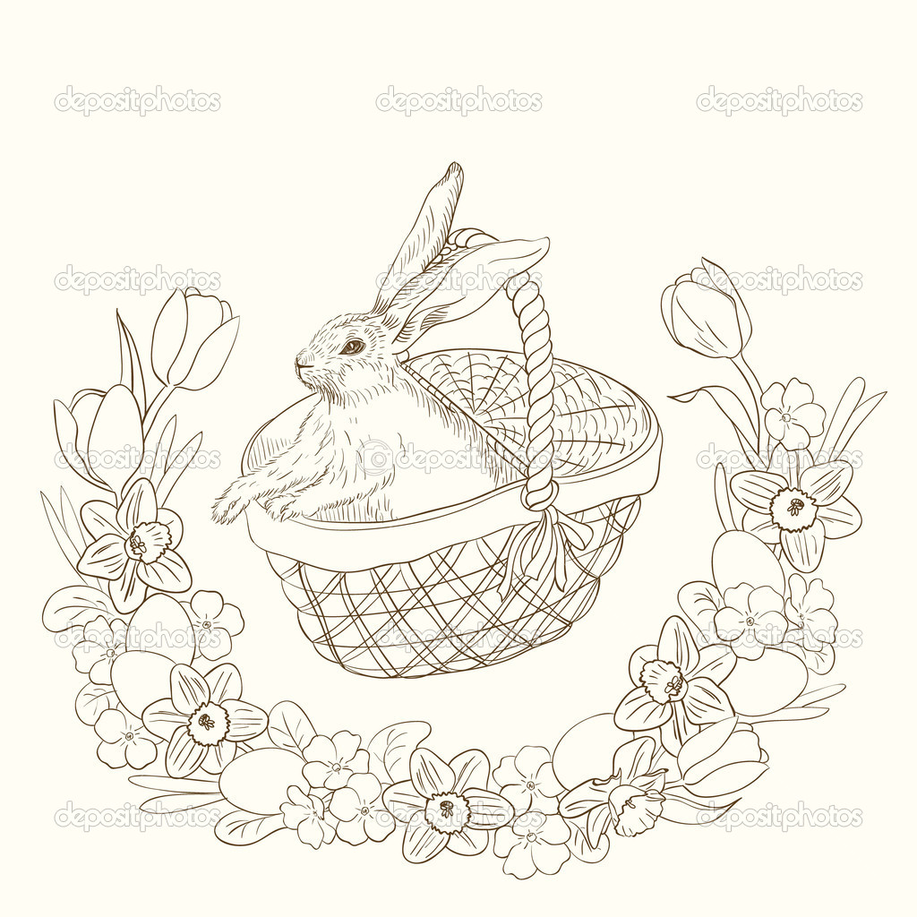 Pen and ink illustration of cute bunny in basket — Stock Vector #9401077