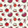 Stock Vector: Pattern with cute red fruits and vegetables