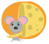 Little mouse hold peace of cheese — Stock Vector