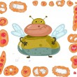 Fat fly and set of pies and buns — Imagen vectorial