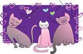 Ilustración con los gatos cantando en la noche — Vector de stock
