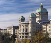 Federal palace of Switzerland side view in autumn — Stock Photo