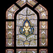 Thai style buddhism temple window - Stock Photo