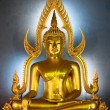 Golden Buddha statue in the Marble Temple, Bangkok, Thailand - Stock Photo