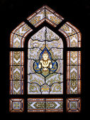 Thai style buddhism temple window — Stock Photo