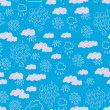 Seamless blue pattern with rainy clouds — Stock Vector