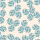 青い葉とシームレスな装飾的なパターン — ストックベクタ
