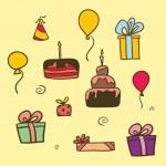 Vector colourful birthday set — Stock Vector