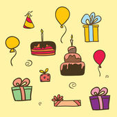 Vector colourful birthday set — Stock vektor
