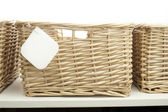 Storage basket with pinned tag — Stock Photo