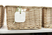 Storage basket with tag — Stock Photo
