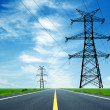 Highway and high-voltage tower — Stock Photo