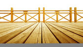 Wooden flooring and guardrails — Stock Photo