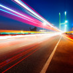 Bridges and light trails — Stock Photo